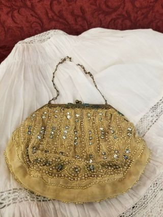 Vintage/antique Large Doll Or Child Beaded Purse Handbag With Clasp Closure Cute