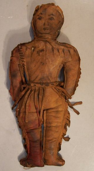 Wonderful And Rare Antique Leather Native American Doll,  10 Inches Tall