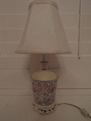 Vintage Chintz Table Lamp Base Brexton W/shade 40 Watt Pink Roses Bedside