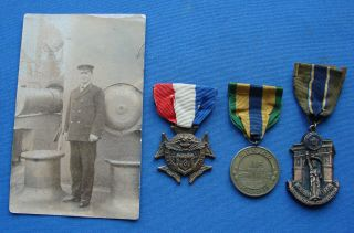 Rare Named & Numbered Mexico 1917 Navy War Medal Grouping With Photo