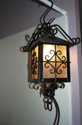 Vtg Wrought Iron Black Metal Outdoor Porch Light Fixture Spanish Revival Mission