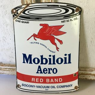 Vintage Porcelain Mobiloil Aero Gasoline Sign Aviation Fuel Service Station