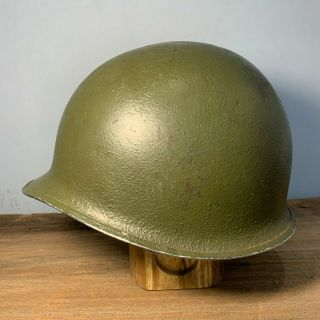 Wwii Ww2 Us M1 Fixed Bale Front Seam Helmet With Paint Fb Fs