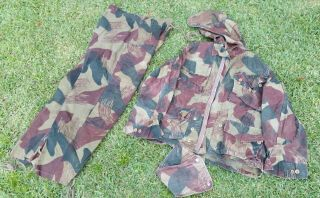 Abl Raka Belgian Congo Brush Stroke Camo Jacket Pants And Hood 1956 Para Smock