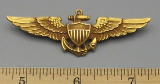 """Wwii Us Navy Pilot Naval Aviator Wings Badge Gold Filled By H - H 2.  75 """""""