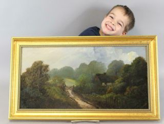A Fine Late 19th C Oil On Artist Board Painting Of A Farm Scene English 1880 J11
