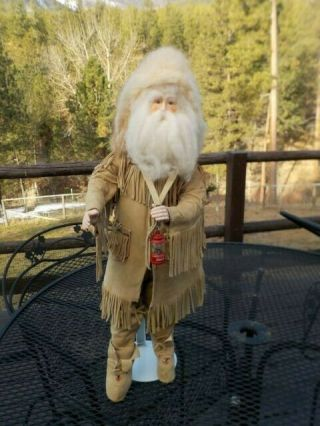 Mountain Man Santa Claus In Suede Outfit W/fringe And Beads