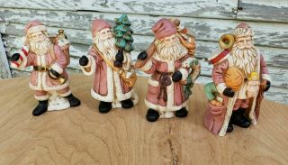 Old World Santa Claus Hand - Painted Figurines Set Of 4