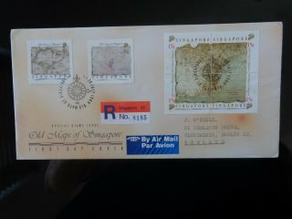 Singapore 1989 Old Maps Of Singapore 6v Registered First Day Cover Cv £12,