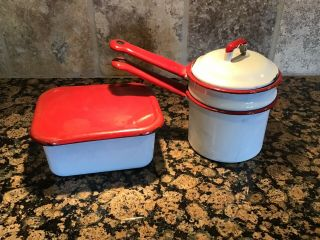 Vintage Enamelware Red And White
