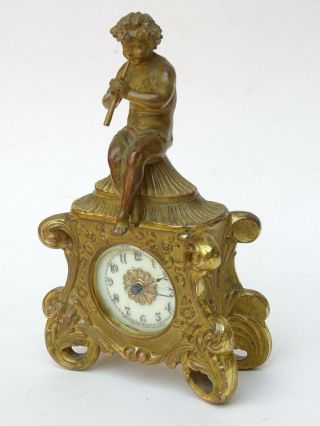 19th C.  Antique French Gilt Bronze Mantle Clock Waterbury Clock Movement