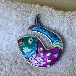 Mid - Century David - Andersen Sterling And Enamel Fish Pin - Norway - Signed