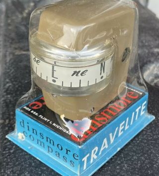 Vintage Dinsmore Travelite Auto Compass Tan Nos In Package Box