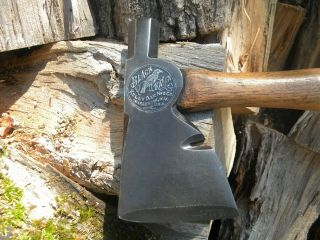 Vintage Embossed Black Raven Hatchet Axe