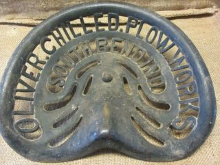 Rare Vintage Oliver Chilled Plow Cast Iron Tractor Seat Antique Farm 10050