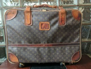 Vintage Large Louis Vuitton Monogram Luggage Rolling Suitcase Trunk With Leash