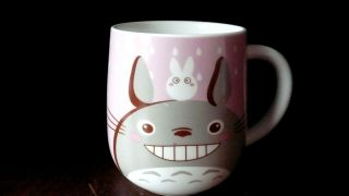 "Fat Pink Gray Totoro And Dust Bunny 12 Oz.  Mug 4.  25 "" H X 4 "" Base Diameter"