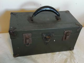 """Vintage 15 """" Metal Tool Box Chest Army Style Green With Removable Tray Usa Made"""