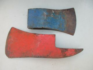 """2 Vintage Axe Ax Heads Unbranded 7 """" X 4.  5 """",  1 W/ Pick 3.  6 Lbs.  And 5 Lbs."""