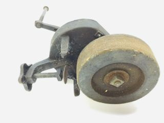 Antique Hand Crank Grinding Wheel,  Crescent Tool,  Clamp On Sharpening Grinding