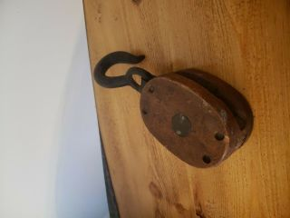 Antique Wood Block & Tackle Pulley Anvil Emblem / Mark With Hook 4 ""