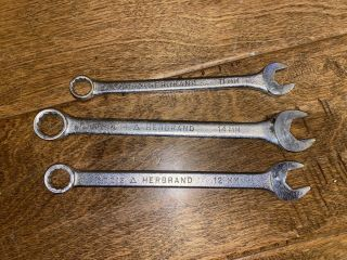 (3) Vintage Herbrand Metric Combo Wrenches 12 Point 11mm,  12mm,  14mm