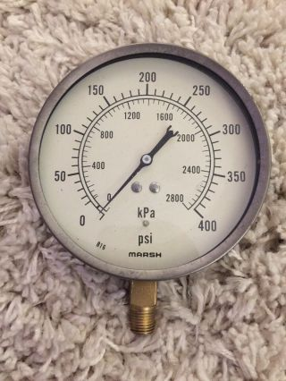 "Vintage Marsh Pressure Gauge,  5"" Diameter,  Built In Light Switch,  Steampunk Laml"
