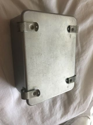 "Vintage Metal Tin Box With Clips Latches 5""x4"""
