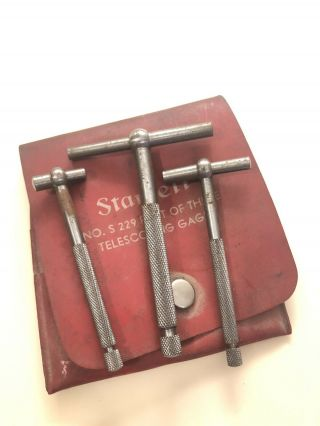 Vintage L.  S.  Starrett No.  229 Set Of 3 Telescoping Gauges Gages