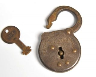 Vintage Industrial Independence 6 Lever Padlock With Work Key