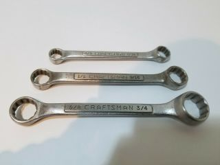 Vintage Craftsman Usa Stubby Box End Wrench Set V Series Sae 3 Piece