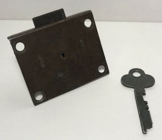 Vintage Drawer Lock Assembly & Key N.  L Co.  Rockford Made In Usa Hardware
