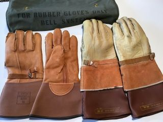 Two Pair Bell System Telephone Lineman Insulated Gloves With Canvas Bag