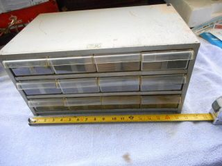 Vintage 12 Drawer Metal Parts Cabinet Made In Usa By Akro - Mils