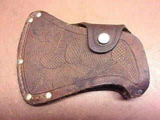 "Estwing Brown Tooled Leather Ax Sheath Stitched & Riveted 4 1/2 "" X 3 1/2 """