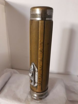 Vintage Antique Brass Flashlight Homart Silver Chrome Glass Lens Tools