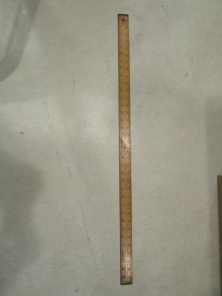 "Vintage Lufkin No.  7132 Wood With Brass Ends 36 "" Yard Stick Ruler Made In Usa"