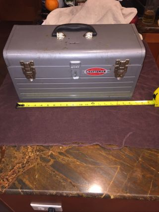 "Craftsman Mechanics Metal Silver Steel 18 "" Tool Box Toolbox Chest Vintage Sears"