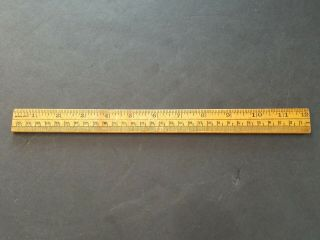 Vintage Dual Sided Wood Wooden Ruler / Made In The Usa With Angle Scale