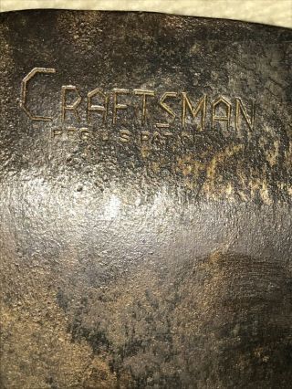 Vintage Craftsman Single Blade Axe Head Block Logo