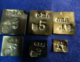 """Fabulous Antique Complete Matching Set 6 Grain Weights,  Westminster Marks """" 1826 """""""