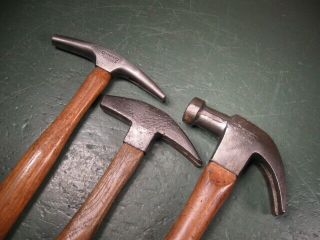 Old Vintage Tools Fine Hammers Group 3 Types Solid Shape Stanley Capewell