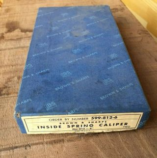 """One Vintage Brown And Sharpe 6 """" 812 Inside Caliper Near With Box"""