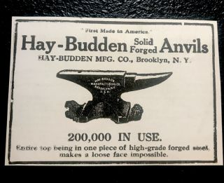 1919 Hay - Budden Anvil Blacksmith Advertising - Brooklyn - York