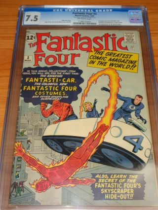 Fantastic Four 3 - Cgc 7.  5 Vf - (signed By Jack Kirby ; 1st Ff In Costume ; Ow)