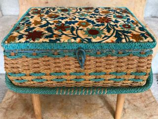 Woven Wicker Made For Singer Sewing Basket With Handle On Legs - Mid Century