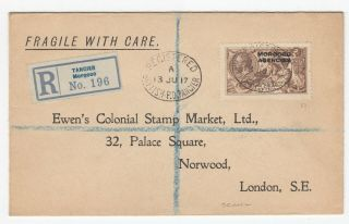 Morocco Agencies Rare 2/6 Seahorse Sg51 On Registered Cover To London 19/7/1917