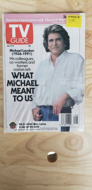 Vintage 1991 July 13 - 19 Tv Guide - Michael Landon / What Michael Meant To Us