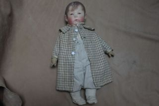 Antique Kathe Kruse Doll No.  1 Boy Oil Painted Cloth Molded Head - - Nr