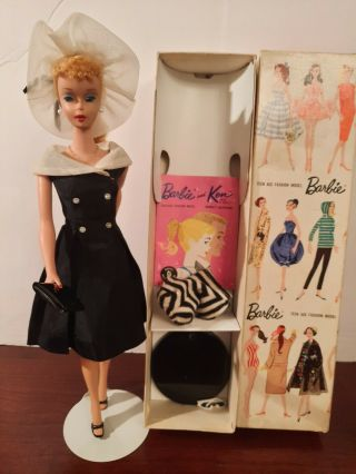 Vintage 1959 Barbie Blonde Ponytail 4 With Box And Stand